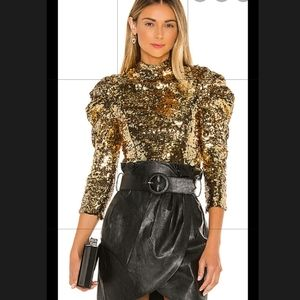 Alice & Olivia Brenna Sequin Gold Puff Sleeve S